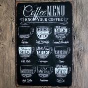 Retro Metal Tin Sign - Coffee Menu