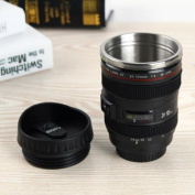Camera Lens Coffee Mug - Travel Cup Stainless Steel Insulated 400ml Thermos Tea with Lens Lid Canon EF 24-105mm Model Portable