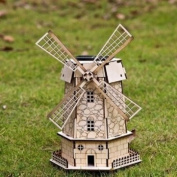 Diy 3D Solar Wooden Puzzle Holland Windmill Toy Model