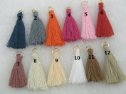 100pcs 32 Colours Silky Handmade Tiny(3.6cm ) Soft Tassels, Mini Tassels, Colourful Tassels, Earring Tassels with Golden Jump Rings