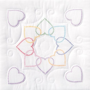 Jack Dempsey XX Hearts Circle Stamped White Quilt Blocks, 46cm x 46cm