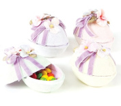 Pack of 8 Sugared Pastel Easter Egg Boxes with Flowers & Purple Ribbon 10cm