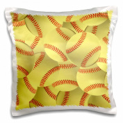 3dRose Softball Pattern-Yellow Red Stitched Balls-Soft Ball Sport-Sporty-Sporting Game-Team Jock-Pillow Case, 41cm by 41cm
