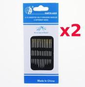 2 Packs of three size Self Threading Needles Hand for Embroidery Mending Sew