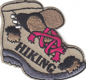 """HIKING"" BOOT- Iron On Embroidered Applique Patch- Sports, Hiker, Outdoors"