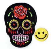 """BLACK ROSE MEXICAN SUGAR SKULL"" Applique embroidered iron on PATCHES for cap, jacket, T-Shirt, jeans, backpack with. and FREE gift by PATCH CUBE"