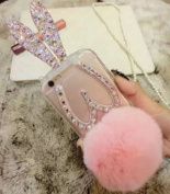Jesiya For Iphone 6/6s case Rabbit Fur,Luxury Diamond Bling Pearls and Plush Rabbit Ears Fur Hair Ball Tassel Stand TPU Cover Case For iPhone 6/6s 12cm