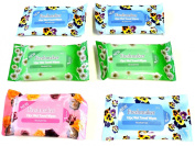 Lot of 6 Packs Travel Size 10 Pack Wet Towel Wipes Baby Wipes Fits in Purse Nappy Bag & Glove Compartment