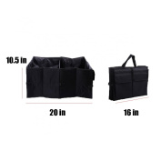 Vulcan-X Car Trunk Collapsible Organiser Bag Foldable Design Convenient Space Saver Cargo Organiser for Toys, Snacks, Cans, Drinks, Books, Clothes, Tools 21.7*15.8*27cm -Black