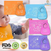 Advance World Blue Waterproof Baby kids Toddler infants Silicone Soft Washable Bib and Placemat easy wipes BPA Free PDA Approved