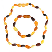 Set of Amber Teething Necklace and Bracelet - Anklet - Genuine Baltic Amber - Safety Knotted