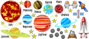 Planets Solar System with stars removable and repositionable stickers playroom nursery vinyl saying lettering wall art inspirational sign wall quote kids room decor