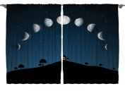 Phases of the Moon and Stars Cosmic Cosmos 270cm X 160cm Kids Youth Room Classroom Living Room Curtains 2 Panels Set One of a Kind Machine Washable