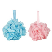 Body Puff - Tenn Well Soft Shower Bath Puff Pouffe- Sponge Mesh Ball Pack of 2