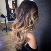One piece clip in hair extensions-Darkest brown to dirty blonde