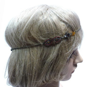 rougecaramel - Headband/Hair Band Metal Rhinestone and Jewel Shape Eight Brown on the side