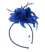 Dark Navy Blue Fascinator with Hanging Pearls on a headband for special events