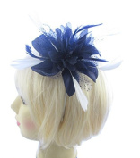Navy Blue and White hair fascinator mounted on a slim headband for special outings