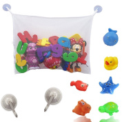 Bath Toy Organiser + 6 Bath Rubber Toys + 2 Extra Heavy Duty Suction Cups ,Baby Bath Toy Storage with Rubber Duck and Rubber Animals for Kids Toddlers & Babies, White Colour