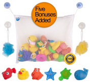 Bath Toy Organiser By Bath Fun Time + 2 Extra Strong Suction Cups + 6 Bath Toys for Babies + 2 Loofahs + 2 Ebooks. Large Size Net, Washable, Mould Resistance, Tidy Clean Bathtub, 100% Satisfaction