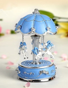 HoneyGifts Laxury Carousel Music Box,Flower Design,Blue