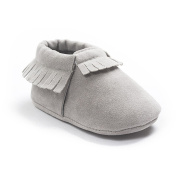 Etrack-Online Baby Boy Pu Suede Leather Soft Soled Shoes Moccasins Grey 12-18 Month
