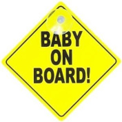 Gripfast Bright Yellow Baby On Board Car Sign - Suction cup attachment - Incease the awareness of your Child with this safety sign - Safety First