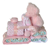 Baby Girl Train Nappy Cake Pink