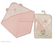 Babies Hooded Teddy Bear Design Towel in Pink or Blue, Snuggle Baby 75 x 75cm