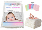 Luxury White Muslin Cotton Dual Baby Blanket, Warm Blanket and Baby Towel, Bath Towel plus FREE Premium Bamboo Hand Towel Wash cloth!
