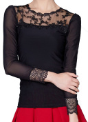 Helan Women's Lace Collar Lace Sleeve Openning Sexy Blouse