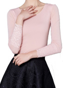 Helan Women's Slim Lace Long Sleeve Blouse Top Shirt