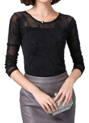 Helan Women's Round Neck Soft Net Floral Black Blouse