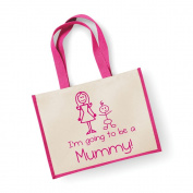 Large Jute Bag I'm Going To Be A Mummy Pink Bag Mothers Day New Mum Birthday Christmas Present