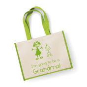 Large Jute Bag I'm Going To Be A Grandma Green Bag Mothers Day New Mum Birthday Christmas Present