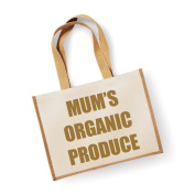 Large Jute Bag Mum's Organic Produce Natural Bag Gold Text Mothers Day New Mum Birthday Christmas Present