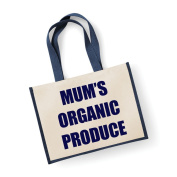 Large Jute Bag Mum's Organic Produce Navy Blue Bag Mothers Day New Mum Birthday Christmas Present