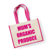 Large Jute Bag Mum's Organic Produce Pink Bag Mothers Day New Mum Birthday Christmas Present