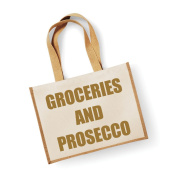 Large Jute Bag Groceries And Prosecco Natural Bag Gold Text Mothers Day New Mum Birthday Christmas Present