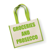 Large Jute Bag Groceries And Prosecco Green Bag Mothers Day New Mum Birthday Christmas Present
