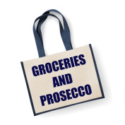 Large Jute Bag Groceries AnD Prosecco Navy Blue Bag Mothers Day New Mum Birthday Christmas Present
