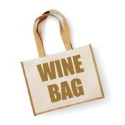 Large Jute Bag Wine Bag Natural Bag Gold Text Mothers Day New Mum Birthday Christmas Present