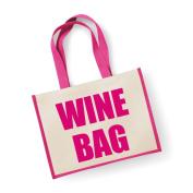 Large Jute Bag Wine Bag Pink Bag Mothers Day New Mum Birthday Christmas Present