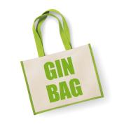 Large Jute Bag Gin Bag Green Bag Mothers Day New Mum Birthday Christmas Present