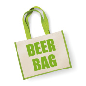 Large Jute Bag Beer Bag Green Bag Mothers Day New Mum Birthday Christmas Present