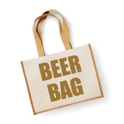 Large Jute Bag Beer Bag Natural Bag Gold Text Mothers Day New Mum Birthday Christmas Present