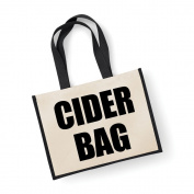Large Jute Bag Cider Bag Black Bag Mothers Day New Mum Birthday Christmas Present