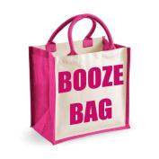 Medium Jute Bag Booze Bag Pink Bag Mothers Day New Mum Birthday Christmas Present