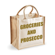 Medium Jute Bag Groceries And Prosecco Natural Bag Gold Text Mothers Day New Mum Birthday Christmas Present