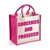Medium Jute Bag Groceries And Prosecco Pink Bag Mothers Day New Mum Birthday Christmas Present